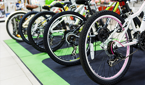 Wheels of mountain bicycles