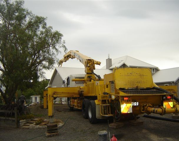 A truck delivering concrete