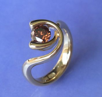 18ct yellow gold with .81ct natural coloured diamond C7 SI2 $4,125.00