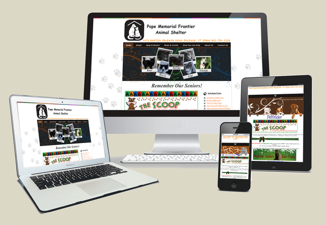 Pope Memorial Frontier Animal Shelter Website Design in Orleans VT