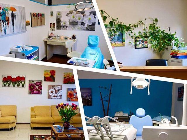 un collage di immagini di uno studio dentistico