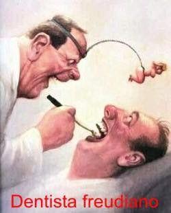 due caricture di un dentista e un paziente e la scritta dentista freudiano