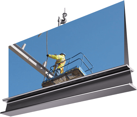 contractor securing a steel beam