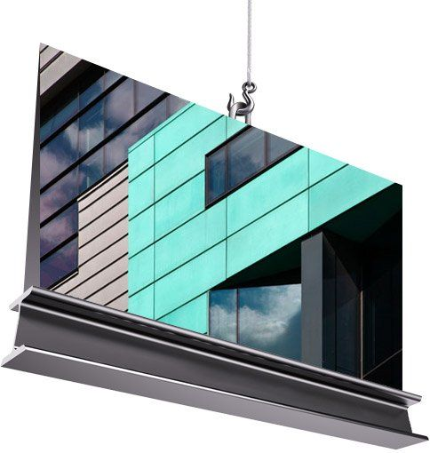 coloured cladding on an office block