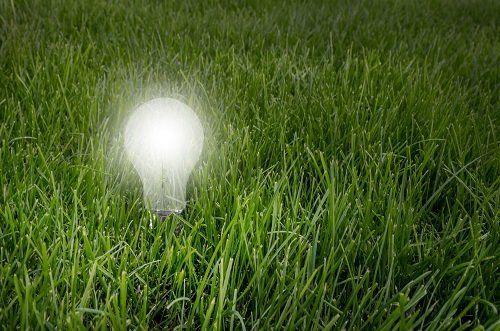 Una lampada accesa sull'erba