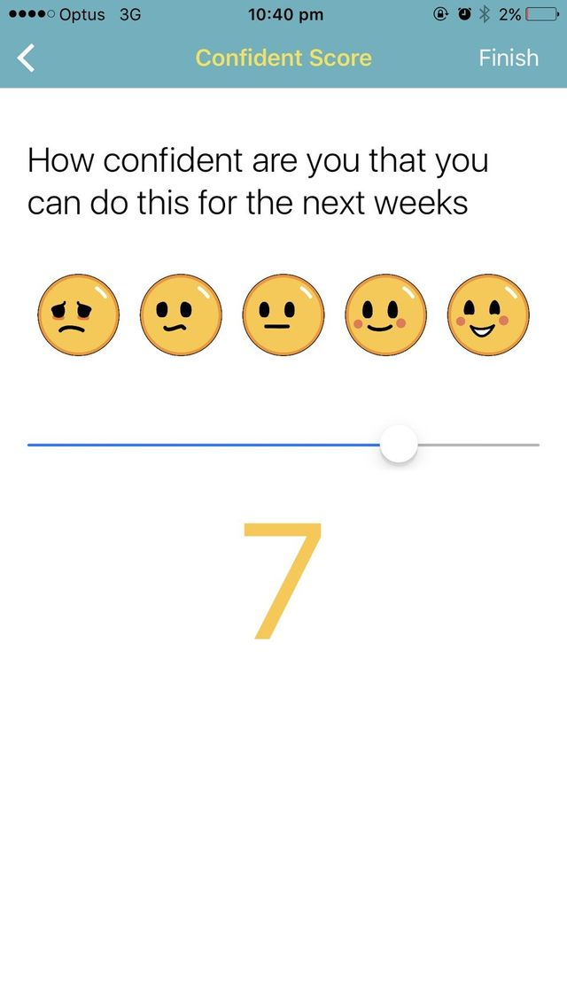App screenshot for confidence scale using 5 point emoji scale