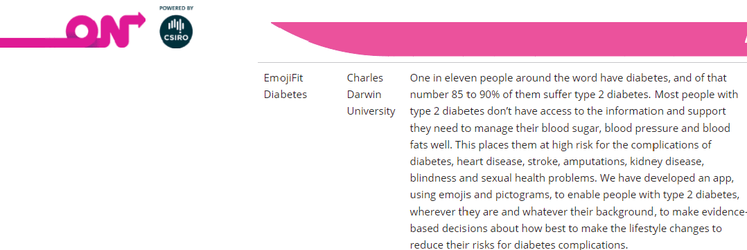 emojifit Diabetes gets a place on the CSIRO ON Prime  program pic