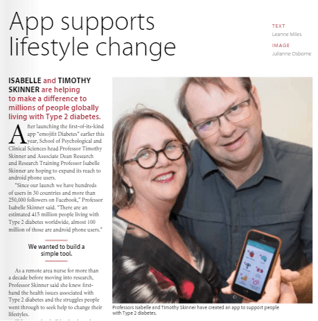 Isabelle and Tim Skinner show emojifit Diabetes app my concerns screen