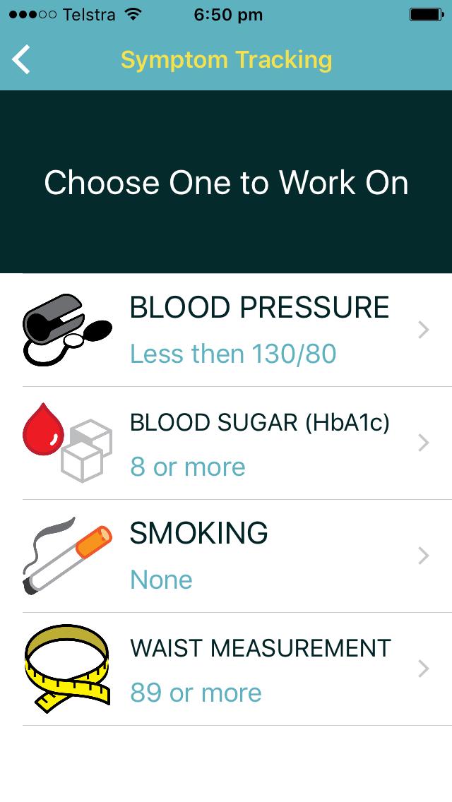 App screenshot symptom tracking