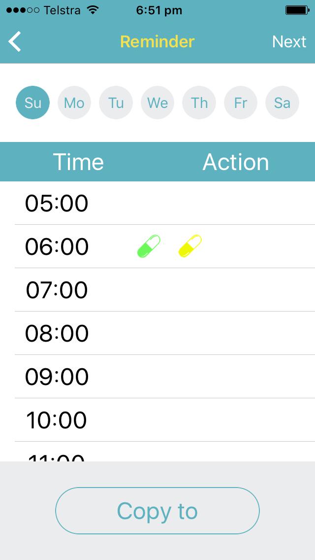 App screenshot set reminders
