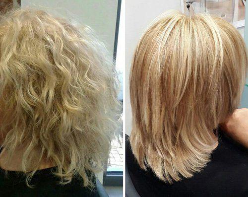 due donne viste dal dietro con capelli biondi mossi e lisci