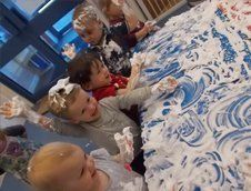 kids playing with foam