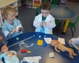 kids dressed as doctors