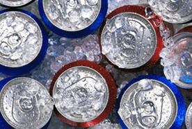 Soft drink cans on ice