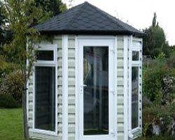 summer house with hexagonal shingles