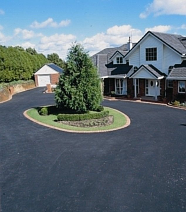 Asphalt (smooth black finish as shown) or;     Chipseal (small stone finish as shown) or;     A mixture of both – Often for a very long driveway or a rural driveway we will do asphalt finish around the house area and then a chipseal driveway.  This is more cost effective and still looks great!