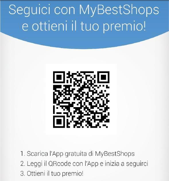 Locandina MyBestShops con identificatore coupon per smartphone