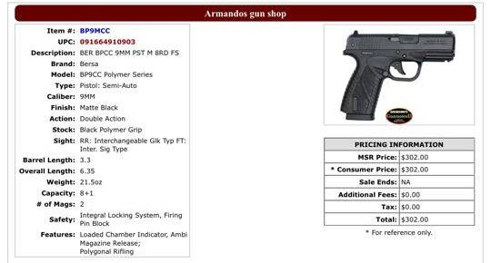 Armando's Gun Shop - Erie, PA - Inventory