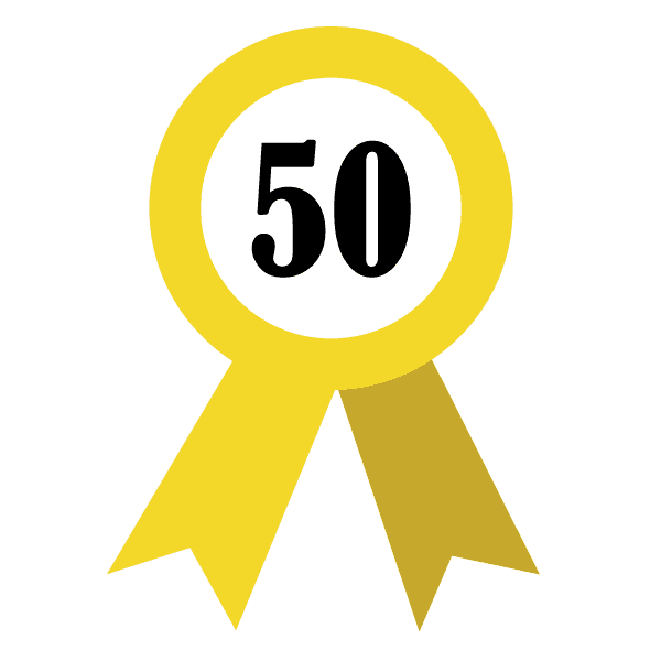 50 years badge icon in Beinasco