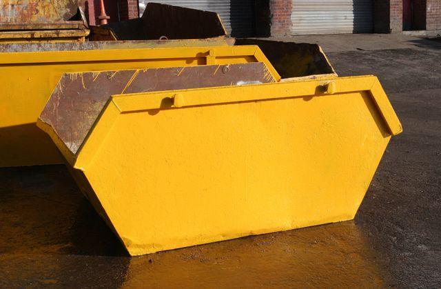 yellow coloured skip