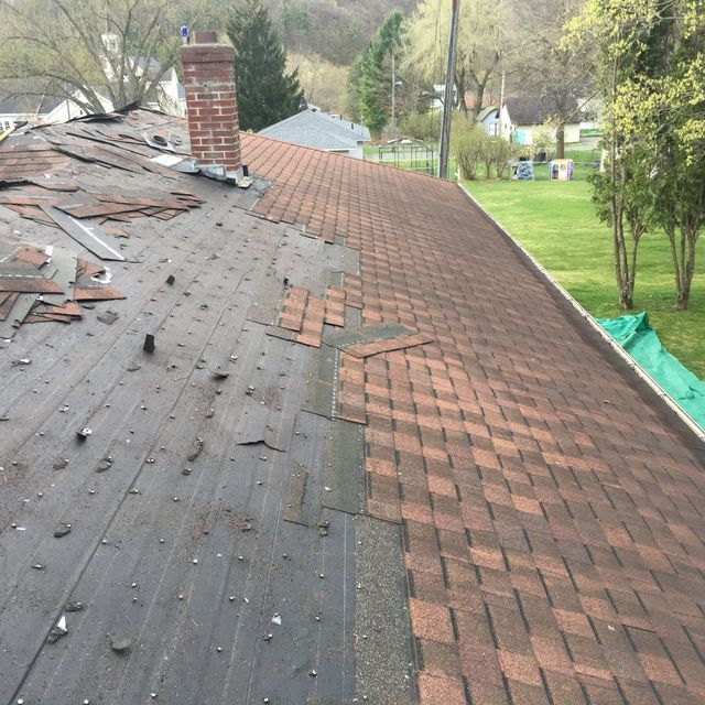 Roof repaired by roofing contractors in New Richmond, WI