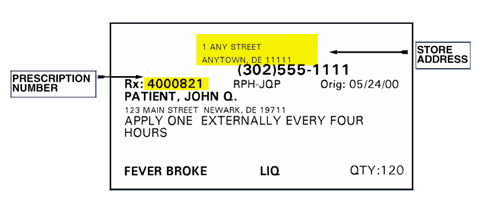 Jeff's Pharamcy prescription label sample