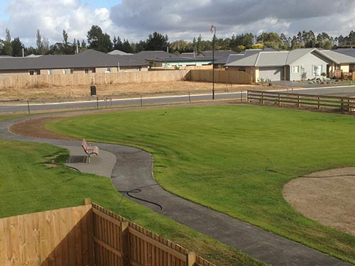 Final view of the open space after landscaping