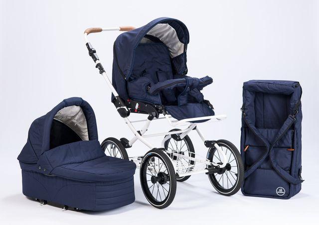 Kinderwagen: Gestell und Korb, je mit und ohne Sonnenschutz,, blau
