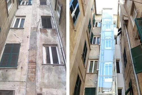 edificio prima e dopo installazione ascensore