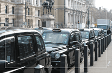 Row of black taxis