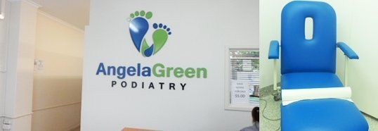 angela green podiatry clinic reception and blue chair