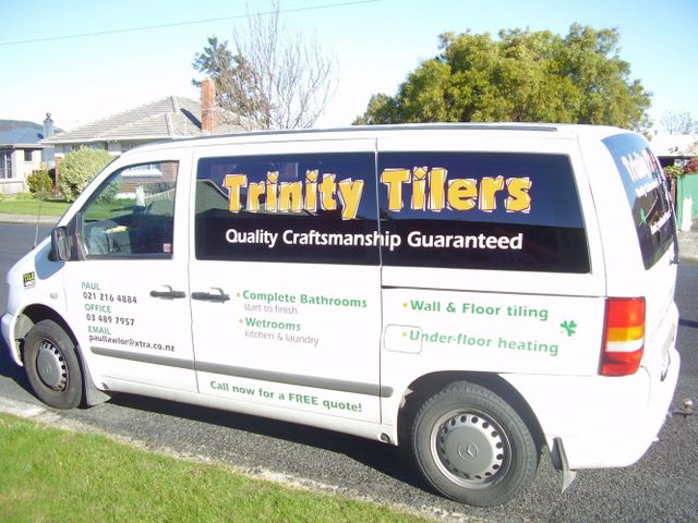 A van with tiling equipment in Dunedin