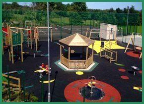 A pagoda in the middle of a play area