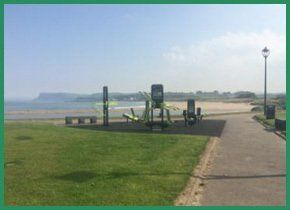 Outdoor gym overlooking the sea