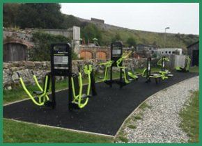 Bright green outdoor gym equipment