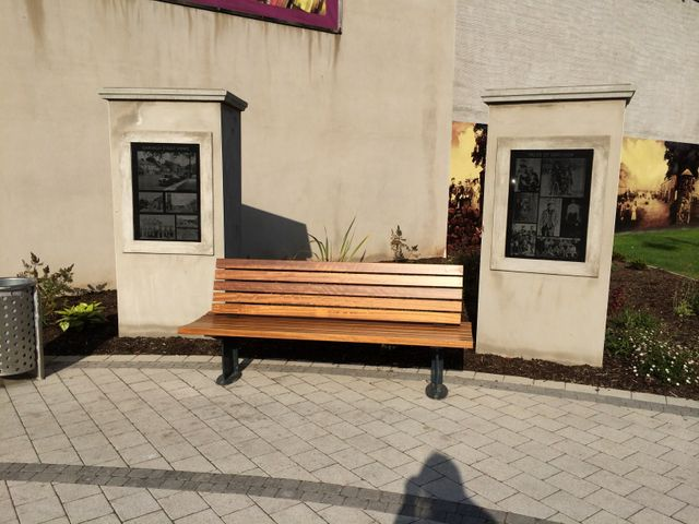 A bench on a curved area of paving
