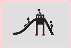 Children playing on slide graphic