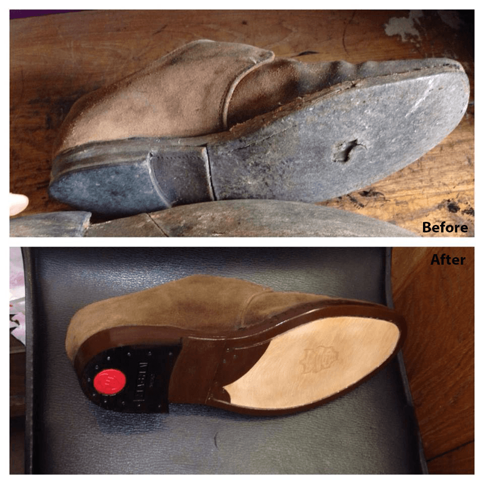 Heel repairs and sole replacement