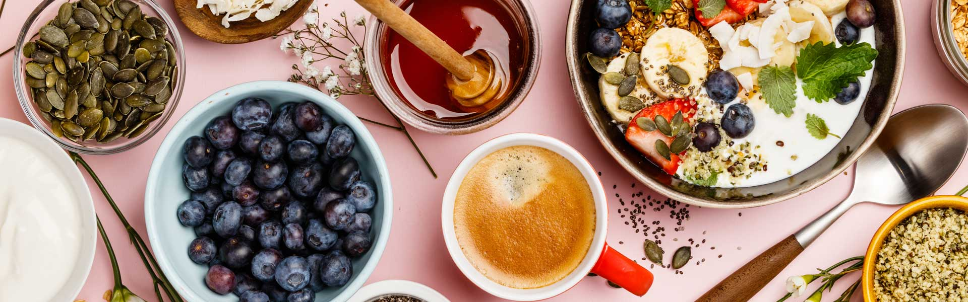 Various fresh foods and berries
