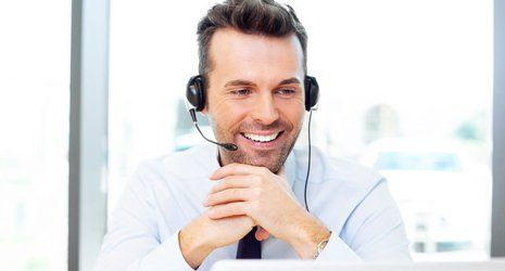 A man with a headset on