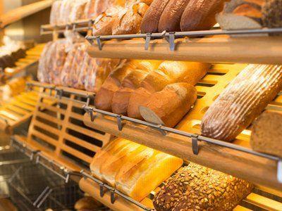 Shelves of freshly baked loaves