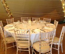 A dressed table at wedding venue