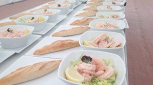 Food plated up ready to serve