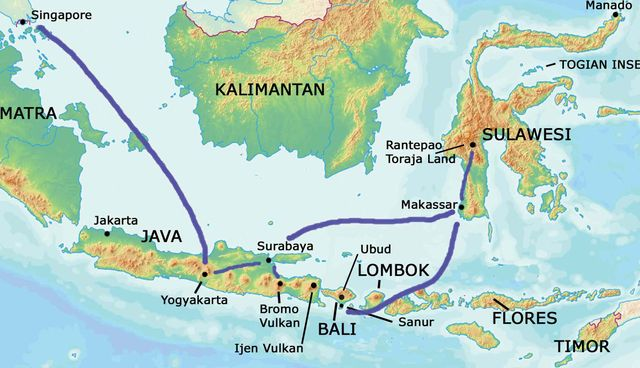 Indonesien Karte Physisch.Bali Karte Asien