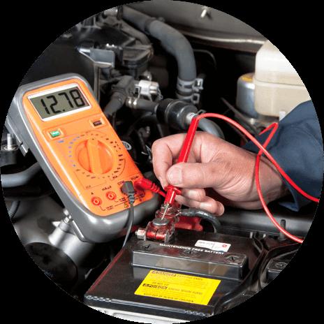 Mechanic checking an engine