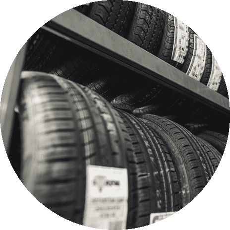 Rows of tyres