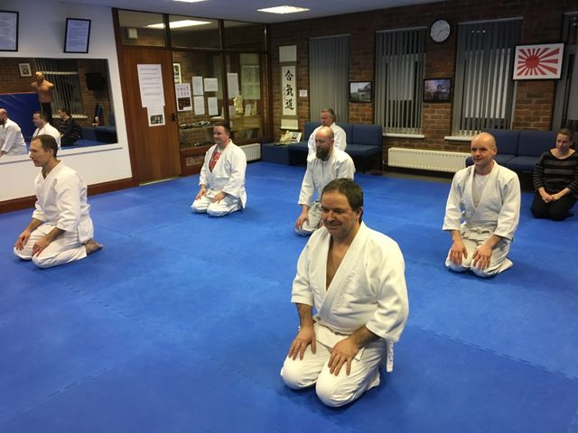DOJO students kneeling at start of lesson. Martin Acton's Aikido Institute