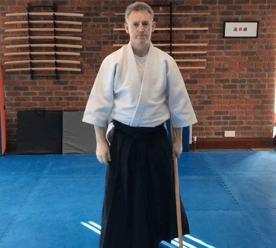 Martin Acton Sensei getting ready to perform a weapon demonstration at Matin Acton's Aikido  Institute