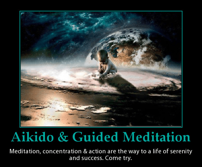 This is a poster for Aikido and guided meditation. Martin Acton's Aikido Institute