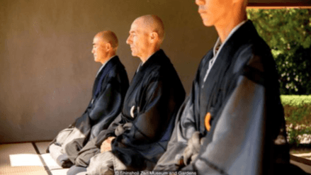 This is a photo of three Japanese monks practicing meditation. Martin Acton's Aikido Institute